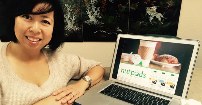 Sản phẩm Nutpods:hạnh nhân và nước dừa của Green Grass Foods, do phụ nữ Việt làm chủ- và poster cùng model Melanie Nga My